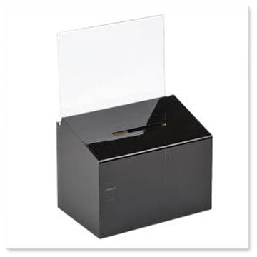 black donation box